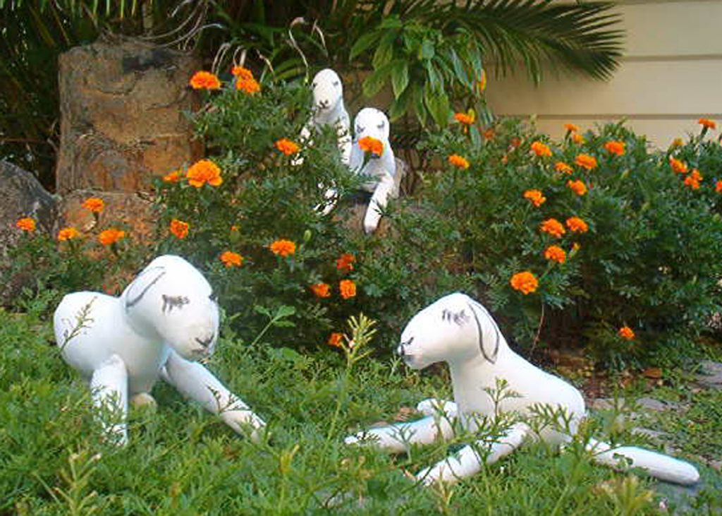 fabric sculpture lambs