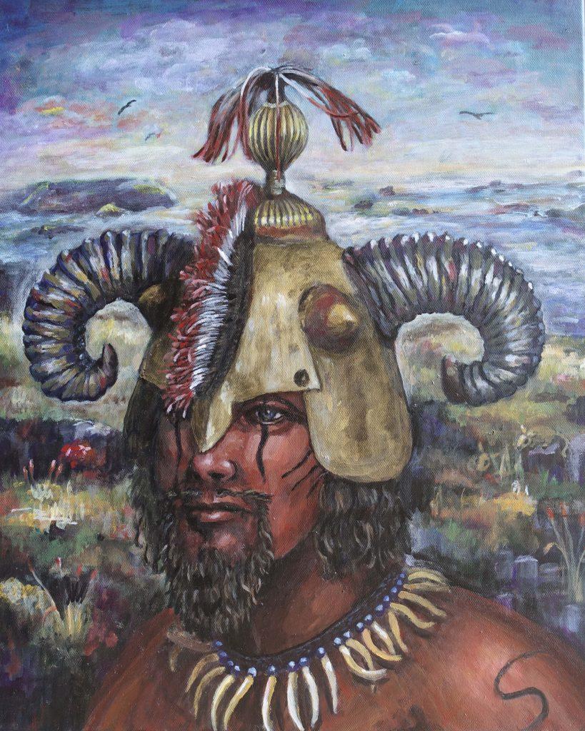 Portrait of a man wearing a gold helmet