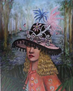 Portrait of girl with black and pink hat