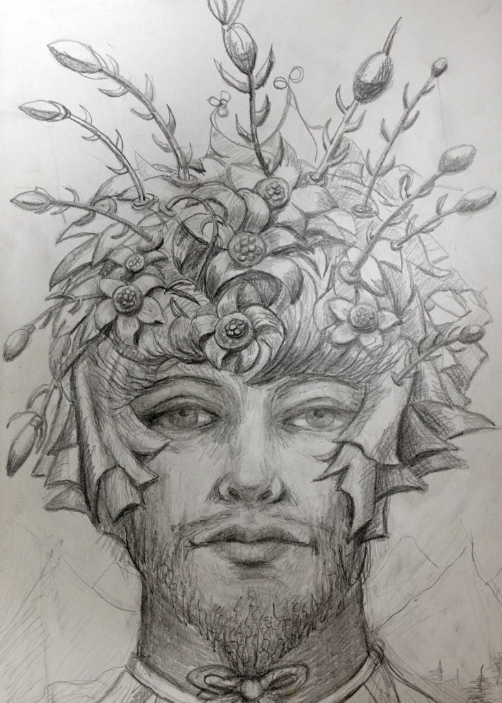 drawing of hat design with flowers and thorns