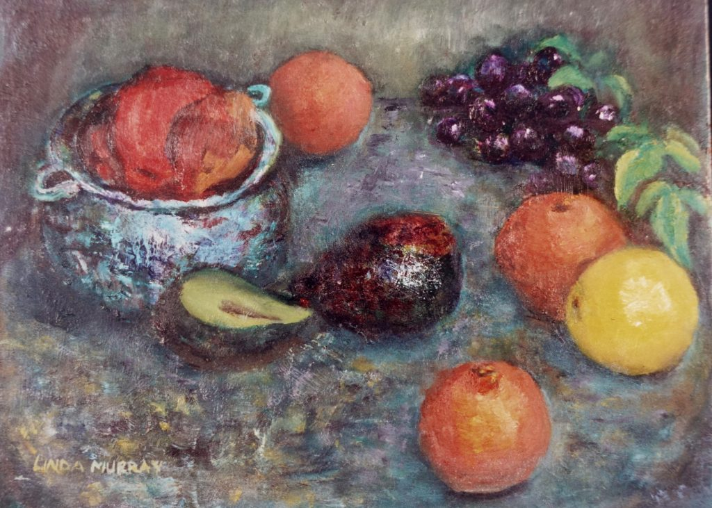 still life with grapes and lemon
