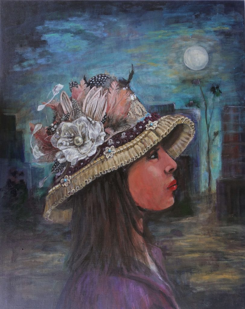 Portrait of girl wearing pretty hat